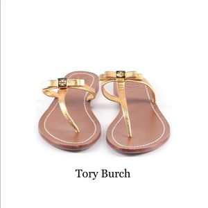 Tory Burch Gold Leather Bow Sandals sz 9